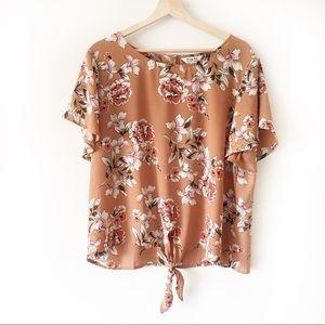 Krazy Kat Tie front floral blouse